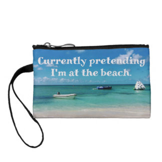 Beautiful Caribbean Beachscape Humorous Quote Coin Purse