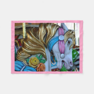 Beautiful Carousel Horse Photo, Custom Fleece Blanket