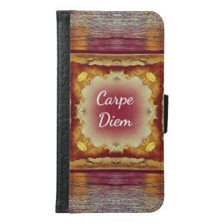 "Beautiful ""Carpe Diem' Burgundy Rose Golden Ocean Samsung Galaxy S6 Wallet Case"