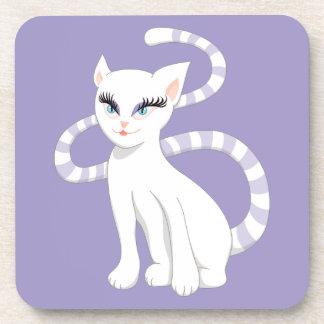 Beautiful Cartoon Cute White Cat Coaster