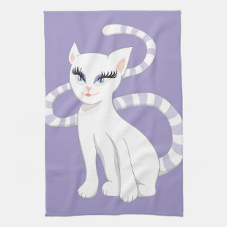 Beautiful Cartoon White Cat Kitchen Towel