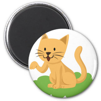beautiful cat meowing and waving 2 inch round magnet