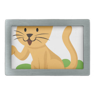 beautiful cat meowing and waving belt buckle