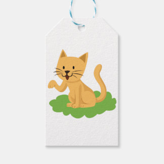 beautiful cat meowing and waving gift tags