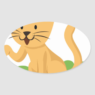beautiful cat meowing and waving oval sticker