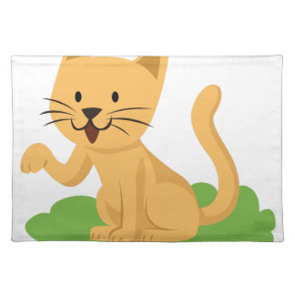 beautiful cat meowing and waving placemat