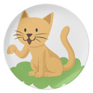 beautiful cat meowing and waving plate