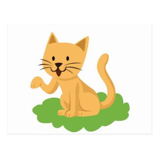 beautiful cat meowing and waving postcard