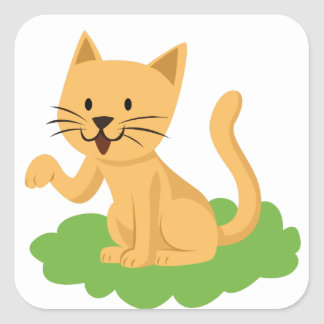 beautiful cat meowing and waving square sticker