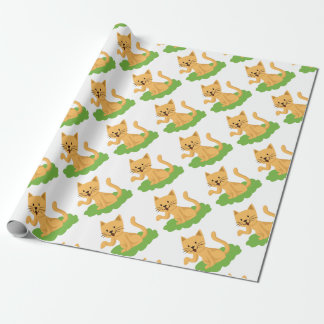 beautiful cat meowing and waving wrapping paper