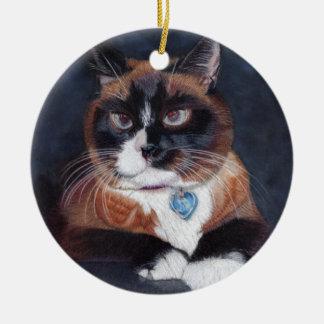 Beautiful Cat Round Ceramic Ornament