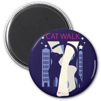 Beautiful cat walk. Art deco stylish illustration 2 Inch Round Magnet
