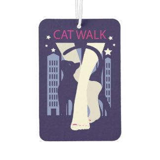 Beautiful cat walk. Art deco stylish illustration Car Air Freshener