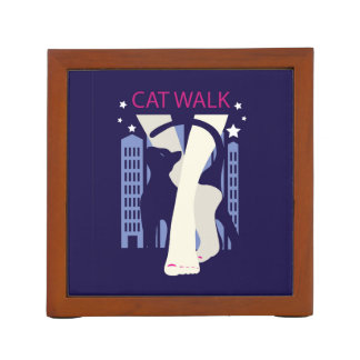 Beautiful cat walk. Art deco stylish illustration Desk Organizer