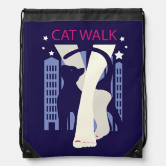 Beautiful cat walk. Art deco stylish illustration Drawstring Bag