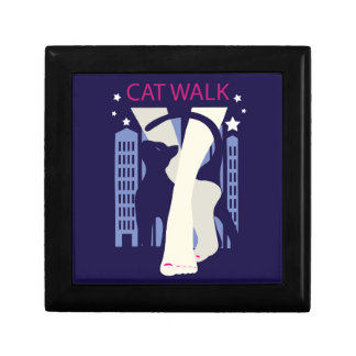 Beautiful cat walk. Art deco stylish illustration Gift Box