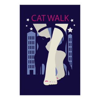 Beautiful cat walk. Art deco stylish illustration Poster