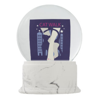 Beautiful cat walk. Art deco stylish illustration Snow Globe