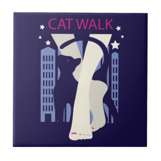 Beautiful cat walk. Art deco stylish illustration Tile