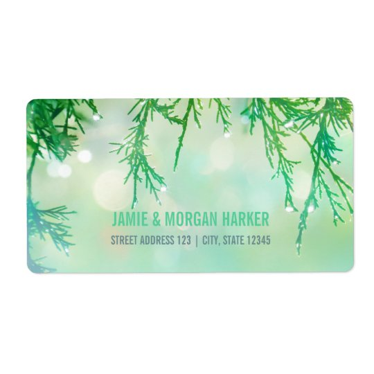 Beautiful Cedar Needles Wedding Address Label