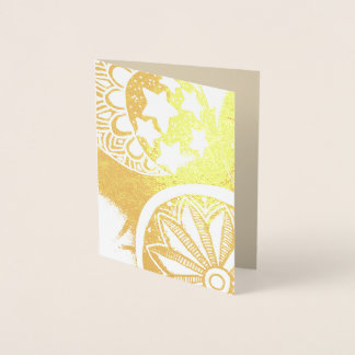Beautiful celestial gold foil greeting card