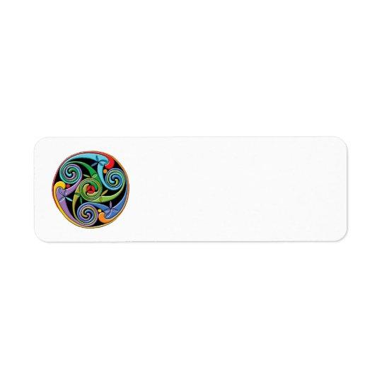 Beautiful Celtic Mandala with Colourful Swirls Return Address Label