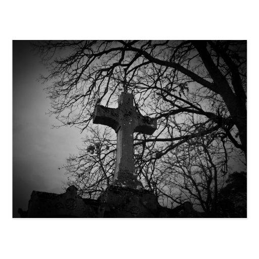 Beautiful cemetery cross tombstone post card