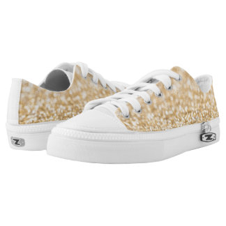 Beautiful champagne gold glitter sparkles Low-Top sneakers
