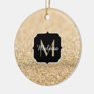 Beautiful champagne gold glitter sparkles Monogram Ceramic Ornament