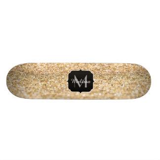 Beautiful champagne gold glitter sparkles Monogram Custom Skate Board