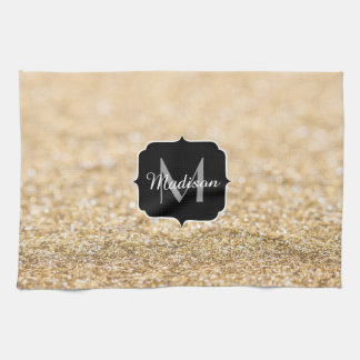 Beautiful champagne gold glitter sparkles Monogram Kitchen Towel