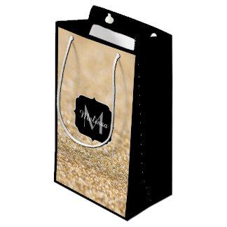 Beautiful champagne gold glitter sparkles Monogram Small Gift Bag