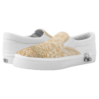 Beautiful champagne gold glitter sparkles Slip-On sneakers