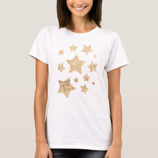 Beautiful champagne gold glitter sparkles Stars T-Shirt