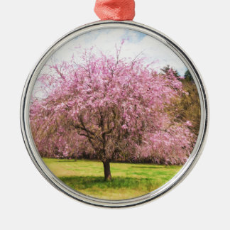 Beautiful cherry blossoms metal ornament