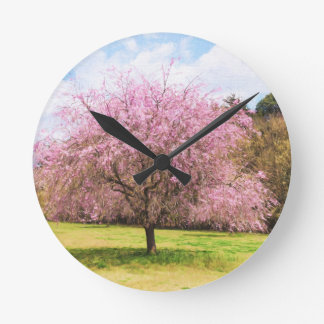 Beautiful cherry blossoms round clock