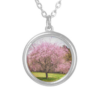 Beautiful cherry blossoms silver plated necklace