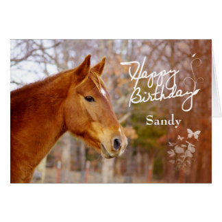 Beautiful Chestnut Horse Birthday Greeting Card