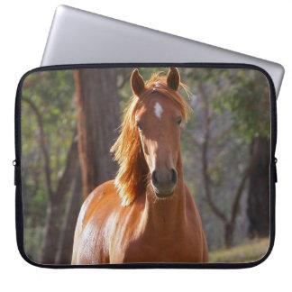 Beautiful chestnut horse photo portrait, gift laptop sleeve