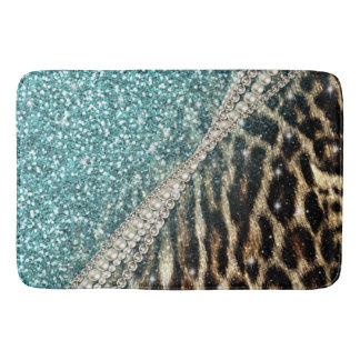 Beautiful chic girly leopard animal faux fur print bath mat