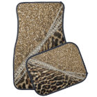 Beautiful chic girly leopard animal faux fur print car mat
