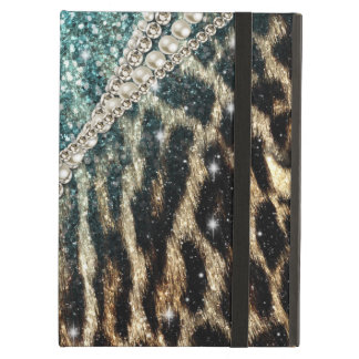 Beautiful chic girly leopard animal faux fur print iPad air cover