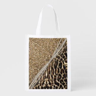 Beautiful chic girly leopard animal faux fur print market totes