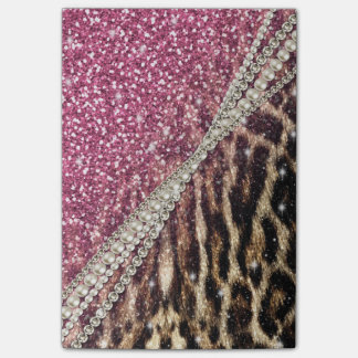 Beautiful chic girly leopard animal faux fur print post-it® notes