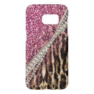 Beautiful chic girly leopard animal faux fur print samsung galaxy s7 case
