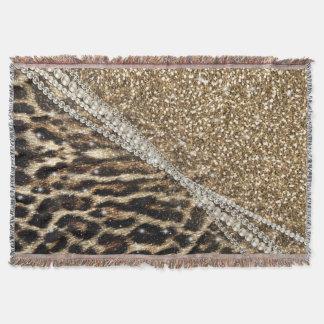 Beautiful chic girly leopard animal faux fur print throw blanket