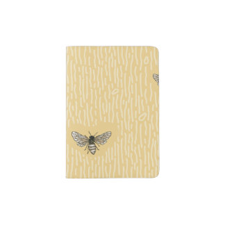 Beautiful Chic Hand-Drawn Bee Pattern Passport Holder
