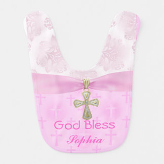 Beautiful Chic Personalized PINK Christening Bib