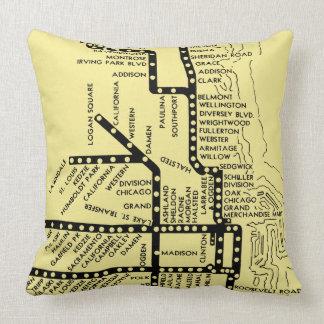 Beautiful Chicago Pride Subway Train Stops Vintage Throw Pillow