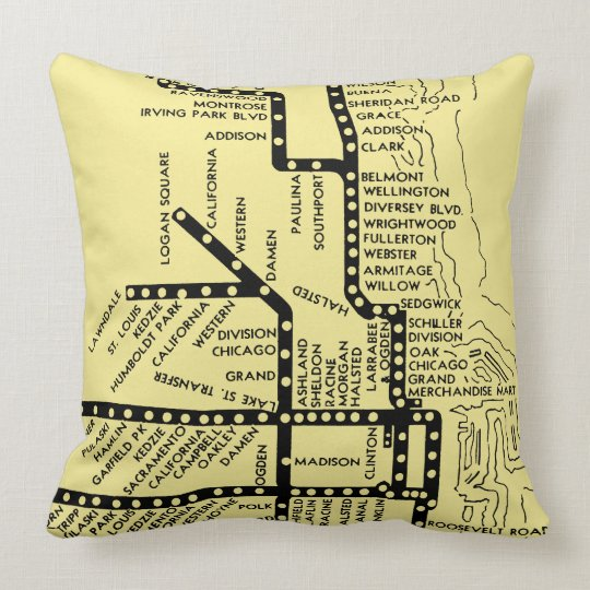 Beautiful Chicago Pride Subway Train Stops Vintage Throw Pillow
